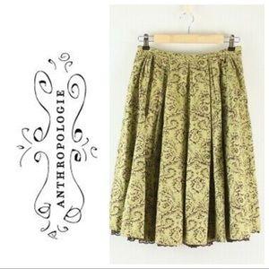 Anthropologie Odille full damask skirt